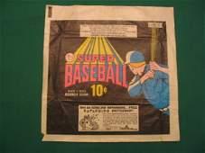 """280: Vintage Topps Super Baseball 10 Cent Pack """"Wrapper"""