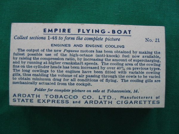 1005: Set of Empire Flying–Boat Tobacco Cards  c. 1920 - 2