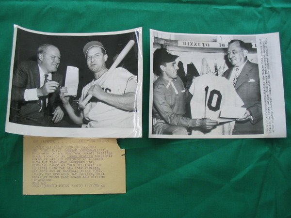 1009: 1950's Tommy Henrich & Phil Rizzuto Wire Photos