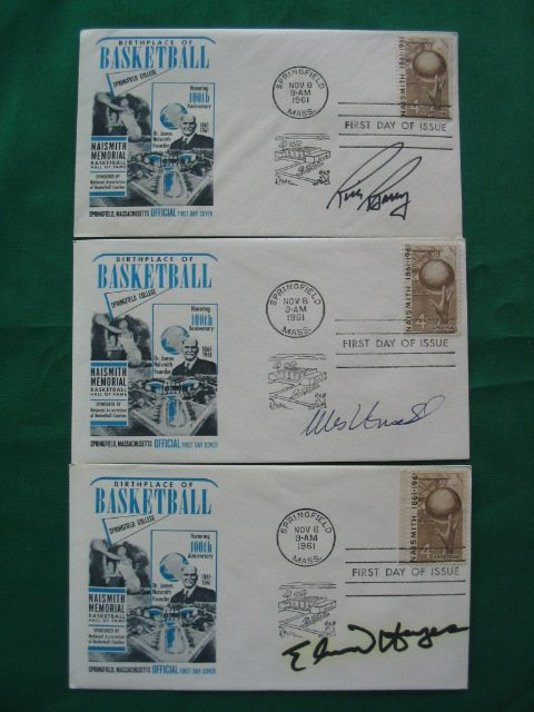 1014: 1961 Basketball HOF First Day of Issue  Autograph