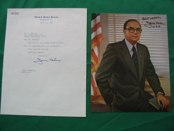 1017: Senator Jesse Helms Autographed Color Photo