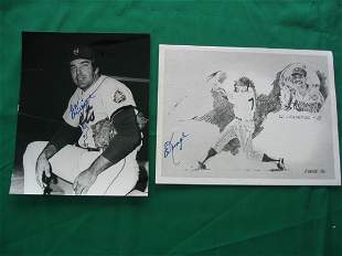 (2) Ed Kranepool NY Mets Autographed Pictures