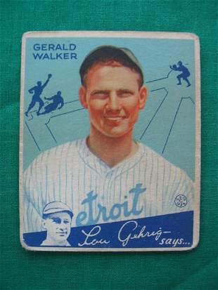 Gerald Walker 1934 Goudey Gum Baseball Card