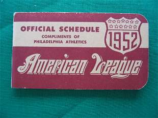 Philadelphia Athletics 1952 Official Schedule Boo