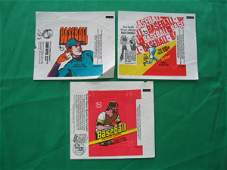 1249: (3) Different Vintage Baseball Card Wrappers