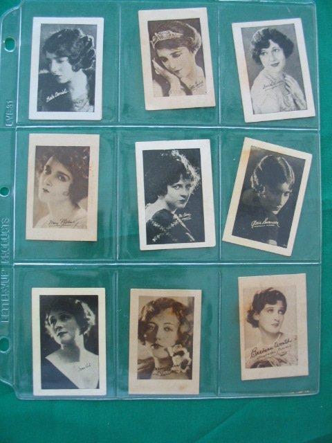 1280: Female Movie Stars Non-Sport Cards (9) c. 1920's