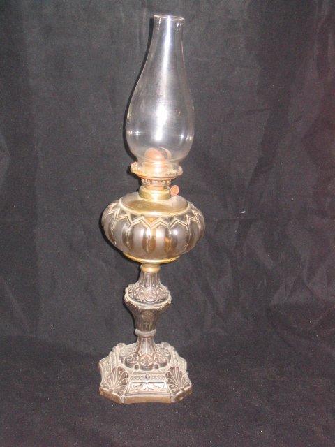 4001: Ornate Cast Base Kerosene Lamp