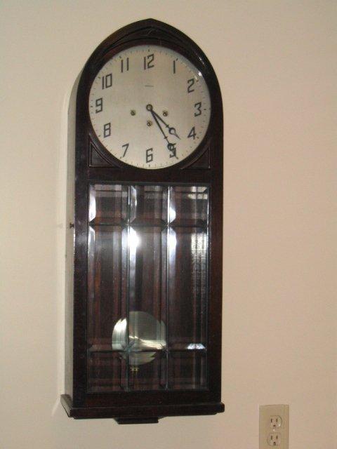 4133: Ansonia Mahogany Chime Regulator Clock