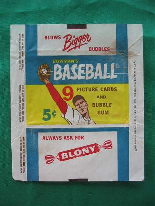 "Vintage 1955 Bowman Baseball 5 Cent Pack ""Wrapper"