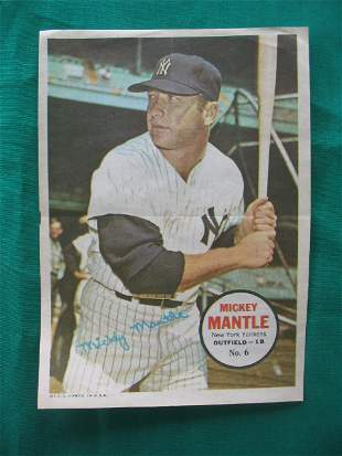 Mickey Mantle 1960's Topps Baseball Poster No. 6