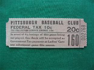 Pittsburgh Pirates 20 Cent Baseball Ticket 1920's