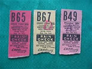 (3) Philadelphia A's Baseball Ticket Stubs 1940'