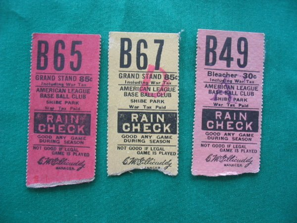 2012: (3) Philadelphia A's  Baseball Ticket Stubs 1940'