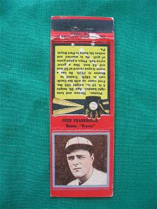 Fred Frankhouse 1930's Baseball Red Match Cover