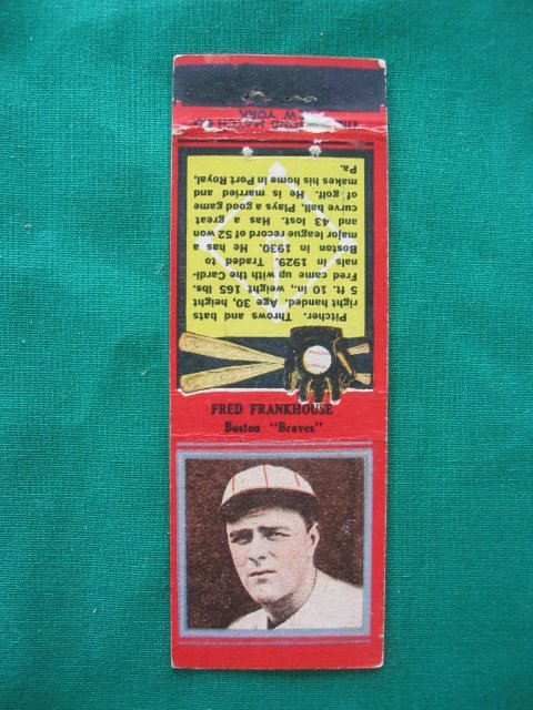 2014: Fred Frankhouse 1930's Baseball Red Match Cover