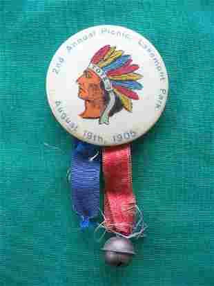 Indian Lakemont Park Pin & Ribbons 1905