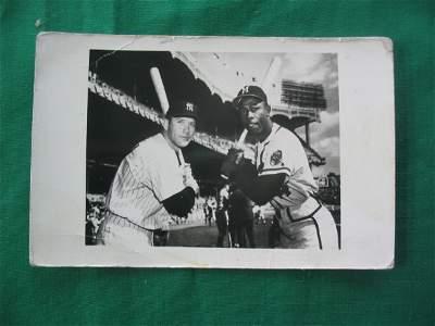 2196: Mickey Mantle / Hank Aaron Original B&W Real Phot
