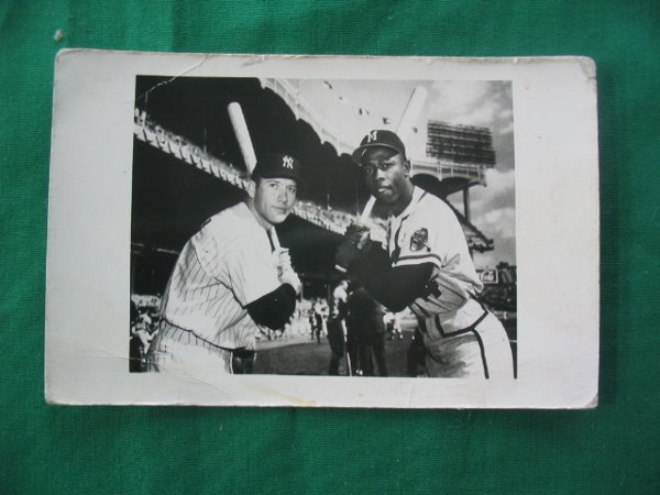 2196: Mickey Mantle / Hank Aaron Original B&W Real Phot
