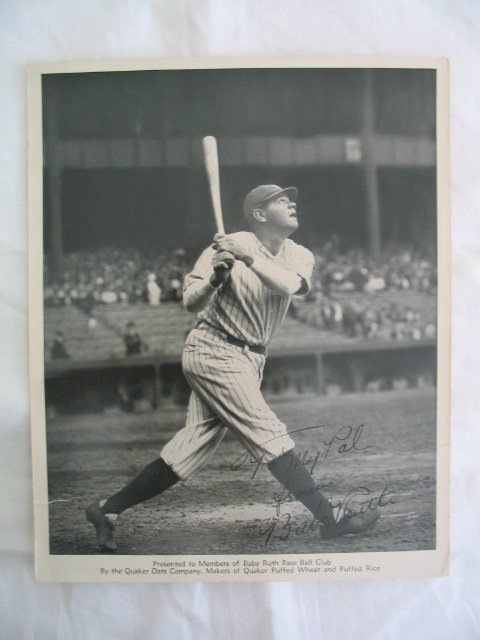 2400A: Babe Ruth, Signature Photo 8x10. Ruth, Baseball