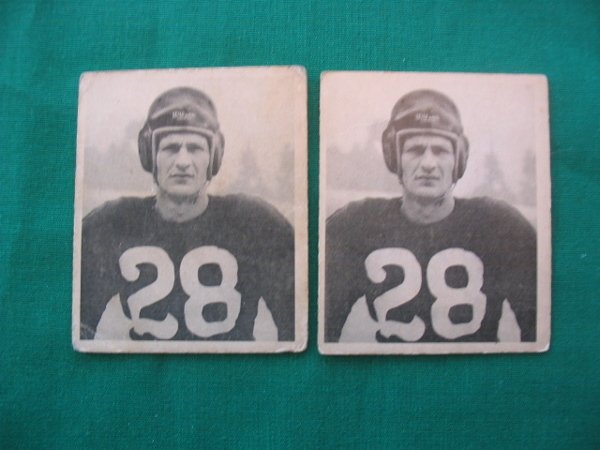 9: Hugh Bones Taylor 1948 Bowman Football Cards (2)