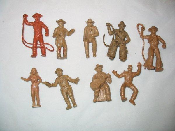 3016: (9) 1950's Plastic Cowboys, Toy Figures