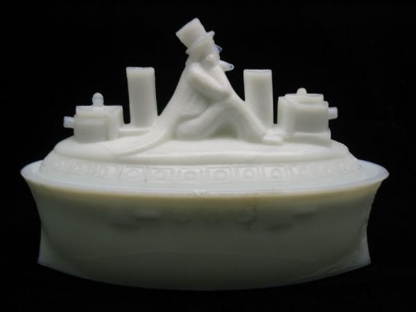 1: Uncle Sam Milk Glass Covered Dish, Steam Ship