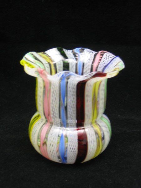 7: Blown Art Glass Five Color Tooth Pick Holder