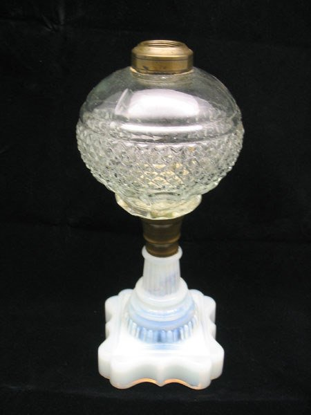 14: Opaque Base Pressed Glass Top Oil Lamp