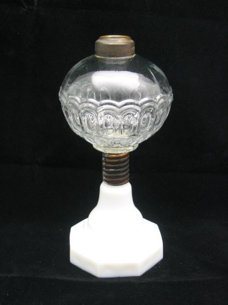 15: Milk Glass Base, Pressed Glass Top Oil Lamp