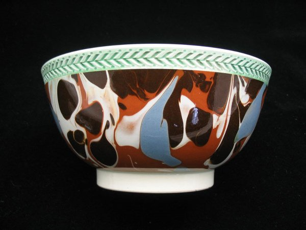 128: Mocha Decorated Bowl W/ Embossed Rim