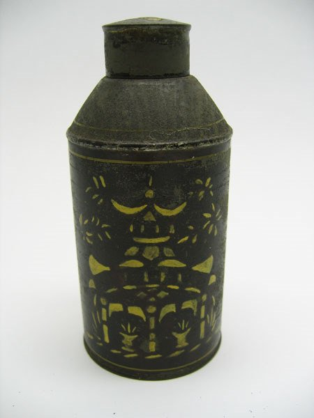 501: 19th C. Japanned Toleware Tea Caddy