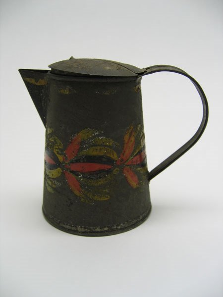 502: 19th C. Toleware Cream Pitcher, Hinged Lid