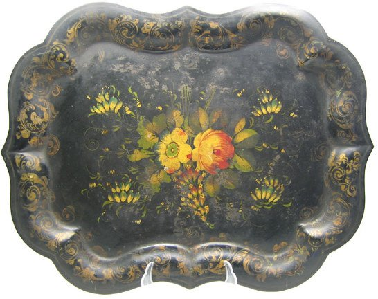 507: Japanned Toleware Tray, W/Scalloped Edge