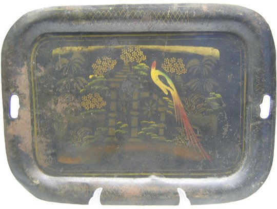 508: Japanned Toleware Tray, W/Peacock Scene