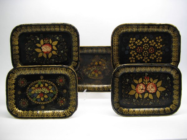 511: Lot of 5 Japanned Toleware Decorated Tray