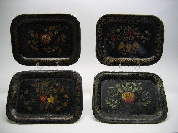 513: Lot of 4 Japanned Toleware Decorated Tray