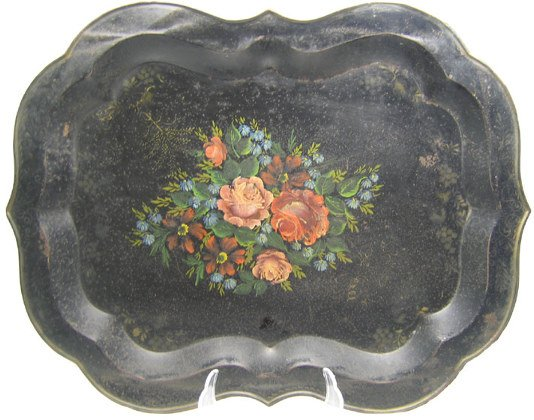 517: Japanned Toleware Tray, Scalloped Edge