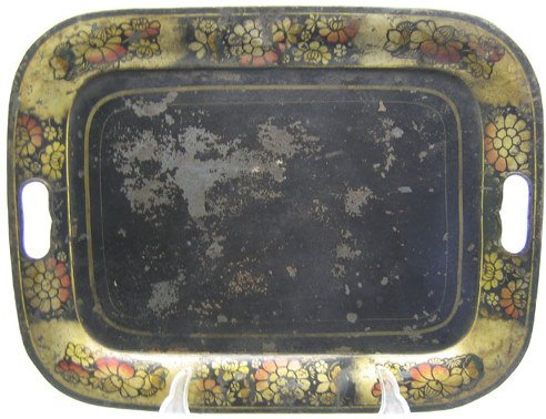 521: Japanned Toleware Open Handled Tray