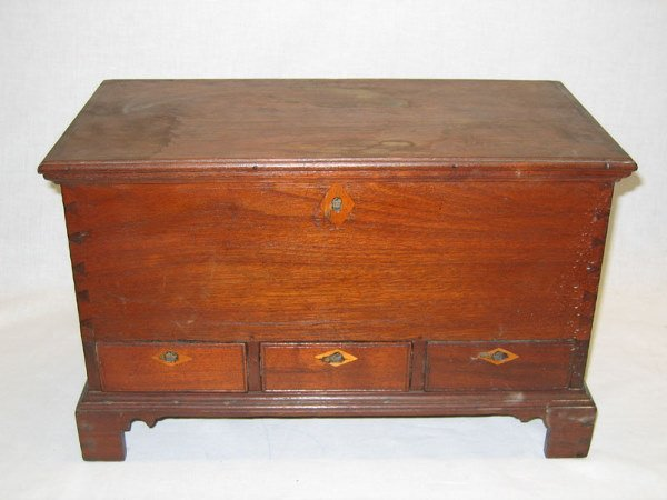 1227: 19th C. Walnut Miniature Dovetailed Blanket Chest