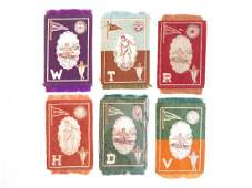 (6) B33 College Athlete, Seal, Pennant Tobacco Blankets