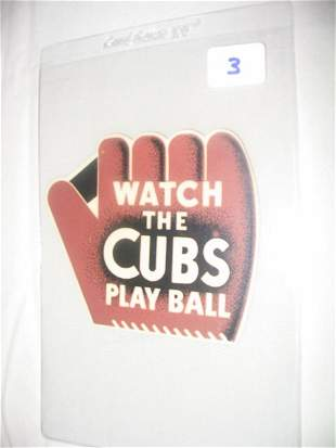 Cubs Decal 1942 Schedule: Scarce & Mint