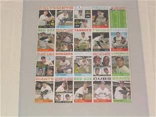 1964 Topps Cards Uncut Sheet