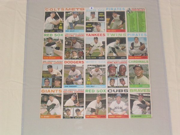 1005: 1964 Topps Cards Uncut Sheet