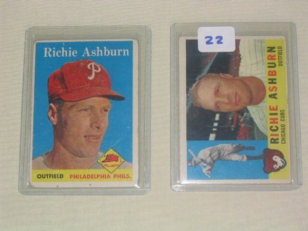 1022: Richie Ashburn 1958 & 1960 Topps Cards: