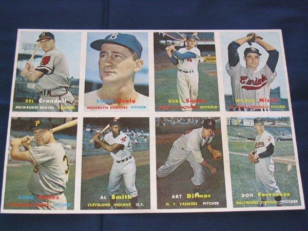 1: 1957 Topps Cards Uncut Sheet w/Duke Snider