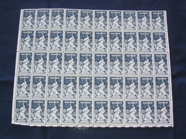 4: Babe Ruth Huge Sheet of 20 Cent Stamps