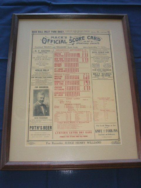 9: Mack's Official Score Card Circa 1910