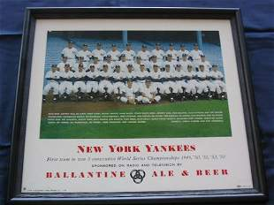 New York Yankees 1954 Ballantine Beer Sign