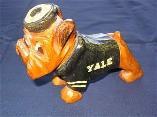 Yale Bulldog 1940's Wooden Mascot