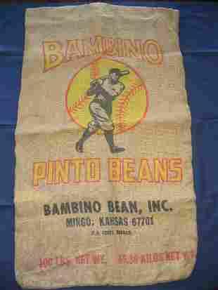 Babe Ruth Pinto Beans Burlap Bag
